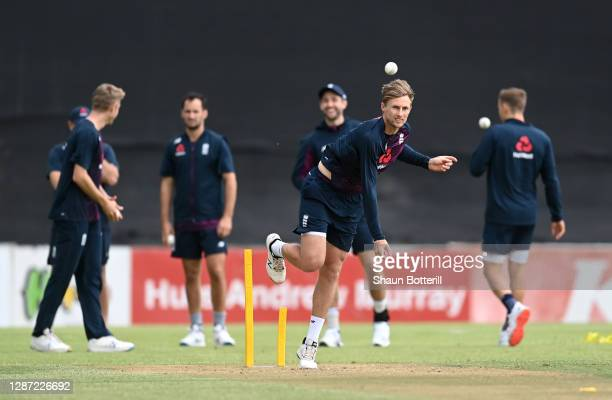 Joe Root of England bowls during practice ahead of the inter squad warm up match at Boland Park on November 23, 2020 in Paarl, South Africa.