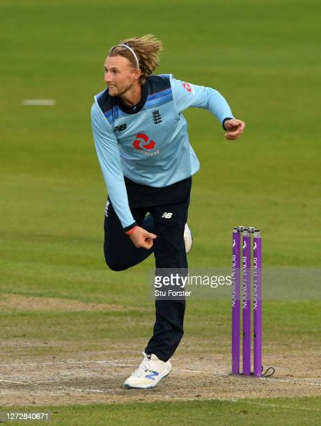 Joe Root of England bowls during the 3rd Royal London One Day International Series match between England and Australia at Emirates Old Trafford on...