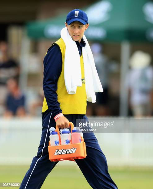Joe Root of England carries the drinks during the One Day Tour Match between the Cricket Australia XI and England at Drummoyne Oval on January 11...
