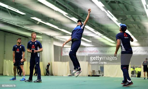 Joe Root of England catches in a fielding drill during a nets session at Old Trafford on August 3 2017 in Manchester England