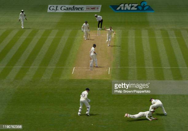 Joe Root of England catches Kane Williamson of New Zealand during day 1 of the second Test match between New Zealand and England at Seddon Park on...