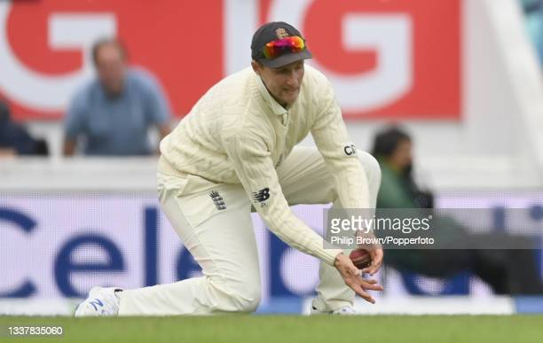 Joe Root of England catches Ravindra Jadeja of India during the 4th LV= Test Match between England and India at The Kia Oval on September 02, 2021 in...