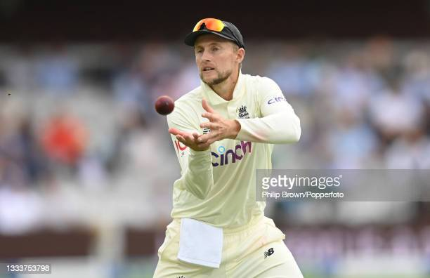 Joe Root of England catches the ball during the 2nd LV= Test match between England and India at Lord's Cricket Ground on August 12, 2021 in London,...