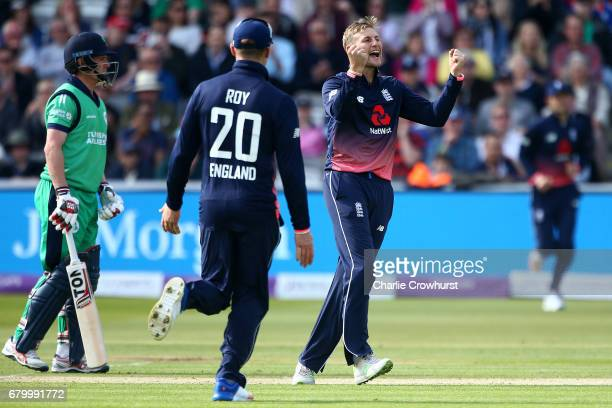 Joe Root of England celebrates after bowling out Ed Joyce of Ireland during the Royal London ODI between England and Ireland at Lord's Cricket Ground...