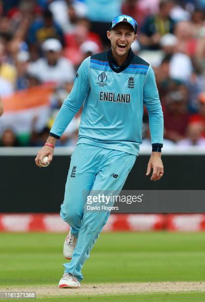 Joe Root of England celebrates after catching Pat Cummins of Australia during the SemiFinal match of the ICC Cricket World Cup 2019 between Australia...