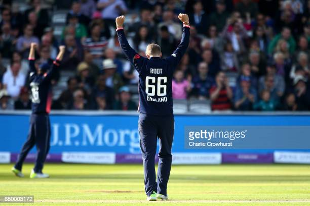 Joe Root of England celebrates after claiming the wicket of Gary Wilson of Ireland hits out during the Royal London ODI between England and Ireland...