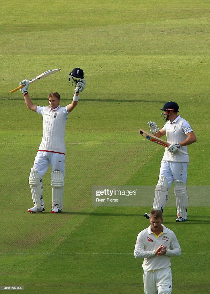 Joe Root of England celebrates after reaching his century and is applauded by Jonny Bairstow of England and David Warner of Australia during day one of the 4th Investec Ashes Test match between England and Australia at Trent Bridge on August 6, 2015 in Nottingham, United Kingdom.