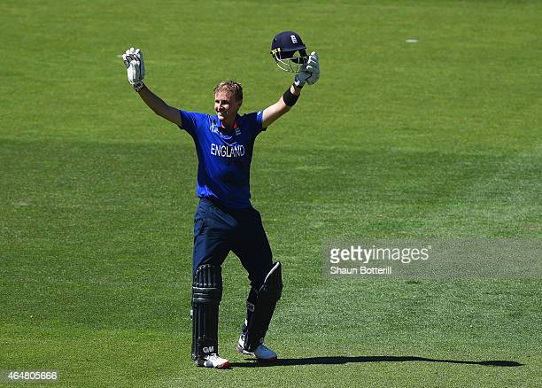 Joe Root of England celebrates after reaching his century during the 2015 ICC Cricket World Cup match between England and Sri Lanka at Wellington...