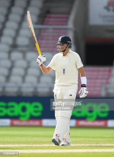 Joe Root of England celebrates after reaching his half century during Day Three of the Ruth Strauss Foundation Test, the Third Test in the...