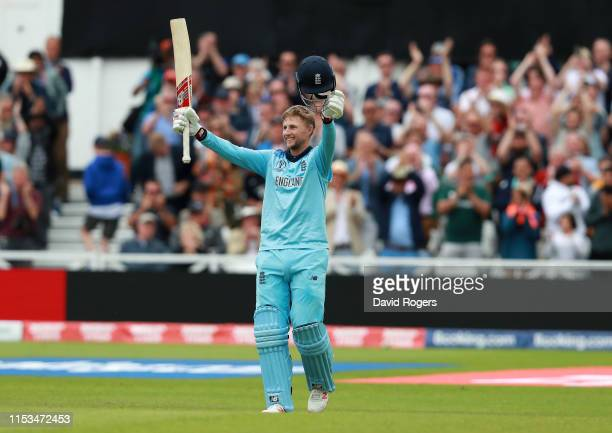 Joe Root of England celebrates after scoring a century during the Group Stage match of the ICC Cricket World Cup 2019 between England and Pakistan at...
