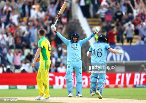 Joe Root of England celebrates as Eoin Morgan of England scores the winning runs to secure victory and send England to the final during the...