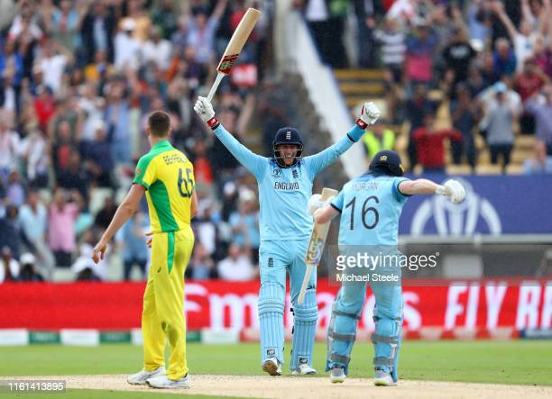 Joe Root of England celebrates as Eoin Morgan of England scores the winning runs to secure victory and send England to the final during the SemiFinal...