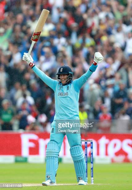 Joe Root of England celebrates as his team seal victory and secure their place in the final during the SemiFinal match of the ICC Cricket World Cup...