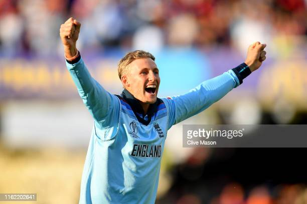 Joe Root of England celebrates at the end of the Final of the ICC Cricket World Cup 2019 between New Zealand and England at Lord's Cricket Ground on...