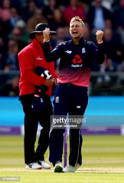 Joe Root of England celebrates dismissing Ed Joyce of Ireland during the Royal London ODI match between England and Ireland at Lord's Cricket Ground...