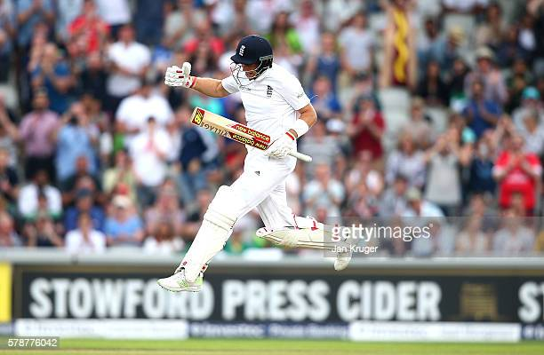 Joe Root of England celebrates his century during day one of the 2nd Investec Test match between England and Pakistan at Old Trafford on July 22 2016...