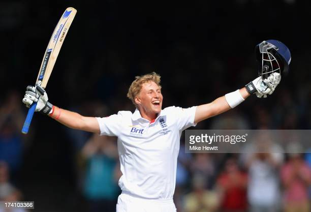 Joe Root of England celebrates his century during day three of the 2nd Investec Ashes Test match between England and Australia at Lord's Cricket...
