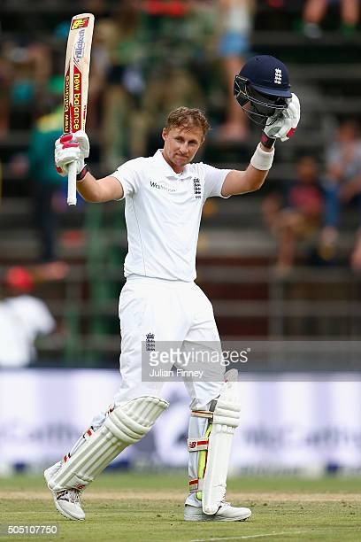 Joe Root of England celebrates his century during day two of the 3rd Test at Wanderers Stadium on January 15 2016 in Johannesburg South Africa