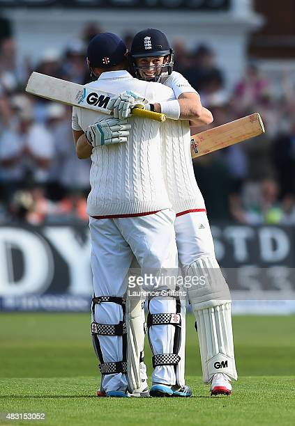 Joe Root of England celebrates his century with Jonny Bairstow during day one of the 4th Investec Ashes Test match between England and Australia at...