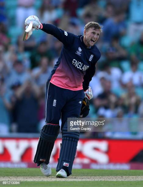 Joe Root of England celebrates hitting the winning runs to win the ICC Champions Trophy group match between England and Bangladesh at The Kia Oval on...