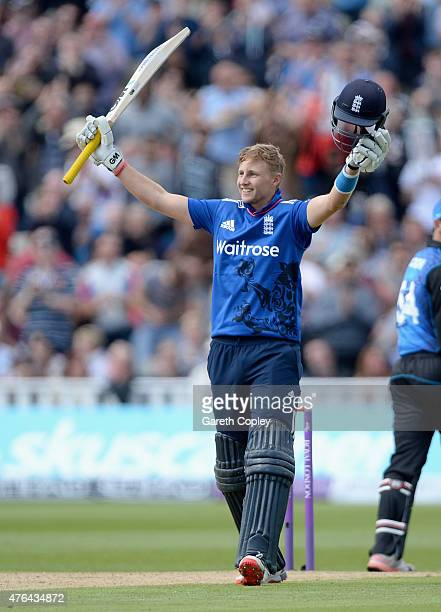 Joe Root of England celebrates reaching his centruy during the 1st ODI Royal London OneDay match between England and New Zealand at Edgbaston on June...