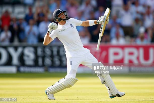 Joe Root of England celebrates reaching his century during day one of the 1st Investec Test match between England and Sri Lanka at Lord's Cricket...