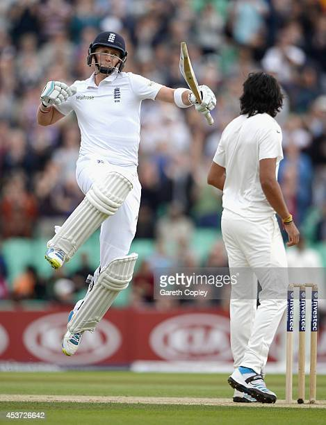 Joe Root of England celebrates reaching his century during day three of 5th Investec Test match between England and India at The Kia Oval on August...