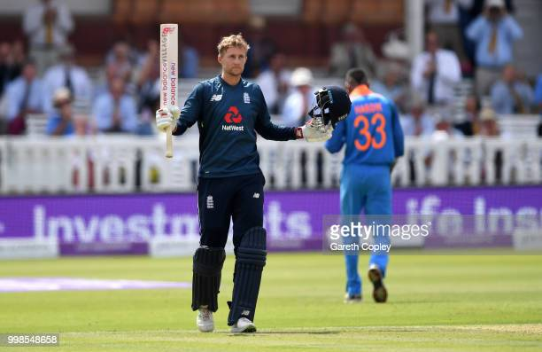 Joe Root of England celebrates reaching his century during the 2nd ODI Royal London OneDay match between England and India at Lord's Cricket Ground...