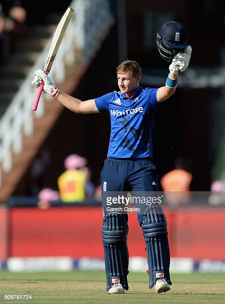 Joe Root of England celebrates reaching his century during the 4th Momentum ODI between South Africa and England at Bidvest Wanderers Stadium on...
