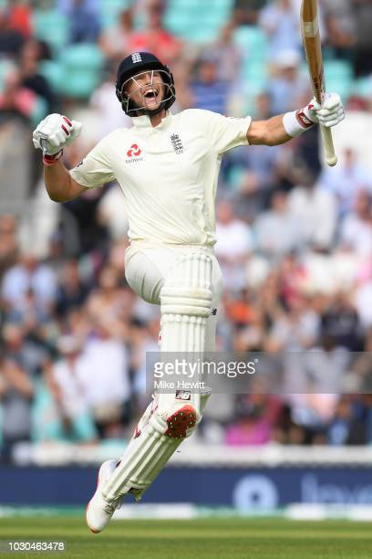 Joe Root of England celebrates reaching his century during the Specsavers 5th Test - Day Four between England and India at The Kia Oval on September...