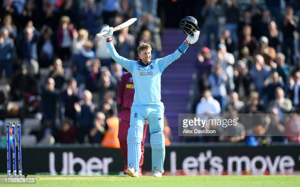 Joe Root of England celebrates reaching his century during the Group Stage match of the ICC Cricket World Cup 2019 between England and West Indies at...