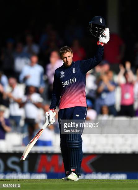Joe Root of England celebrates reaching his century during the ICC Champions Trophy Group A match between England and Bangladesh at The Kia Oval on...