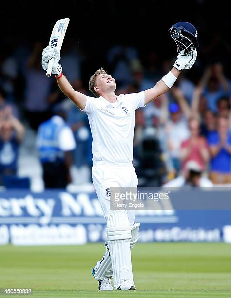 Joe Root of England celebrates reaching his double century during day two of the 1st Investec Test match between England and Sri Lanka at Lord's...