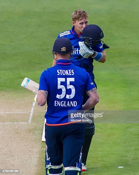 Joe Root of England celebrates scoring a century during the first ODI Royal London OneDay Series 2015 between England and New Zealand at Edgbaston...