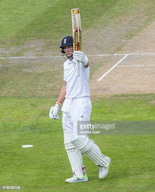 Joe Root of England celebrates scoring a double century during day two of the 2nd Investec Test match between England and Pakistan at The Emirates...