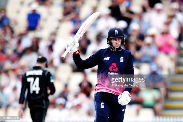 Joe Root of England celebrates scoring a half century during game one in the One Day International series between New Zealand and England at Seddon...