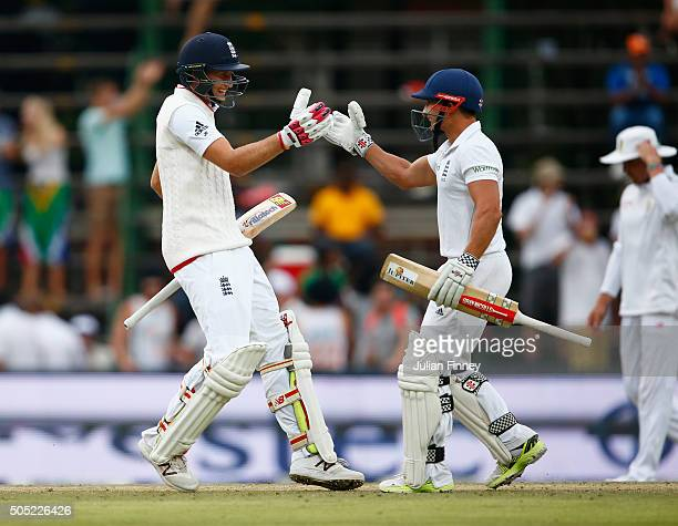Joe Root of England celebrates scoring the winning runs to win the match and the series along side James Taylor of England during day three of the...