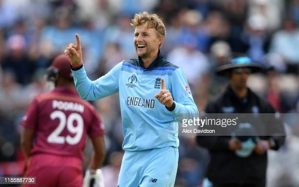 Joe Root of England celebrates taking the catch of Shimron Hetmyer of West Indies during the Group Stage match of the ICC Cricket World Cup 2019...