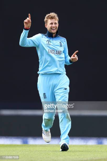 Joe Root of England celebrates taking the wicket of Shimron Hetmyer during the Group Stage match of the ICC Cricket World Cup 2019 between England...