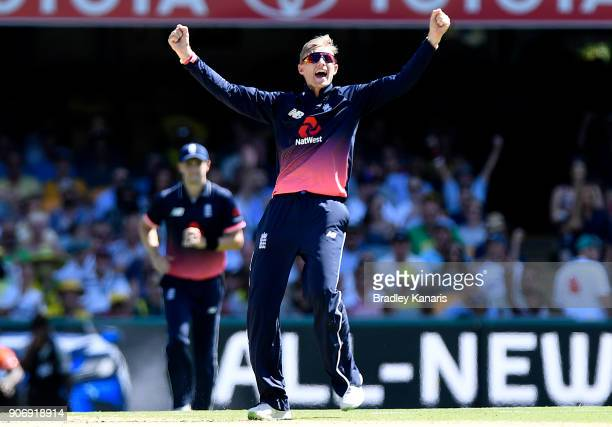 Joe Root of England celebrates taking the wicket of Steve Smith of Australia during game two of the One Day International series between Australia...