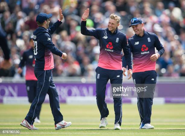 Joe Root of England celebrates taking the wicket of William Porterfield of Ireland during the Royal London One Day International match between...