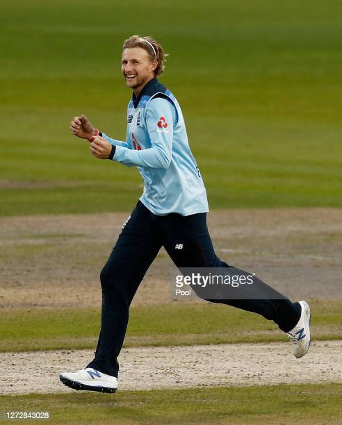 Joe Root of England celebrates the run out of Marnus Labuschagne of Australia during the 3rd Royal London One Day International Series match between...