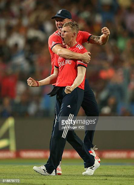 Joe Root of England celebrates the wicket of Johnson Charles of the West Indies during the ICC World Twenty20 India 2016 final match between England...