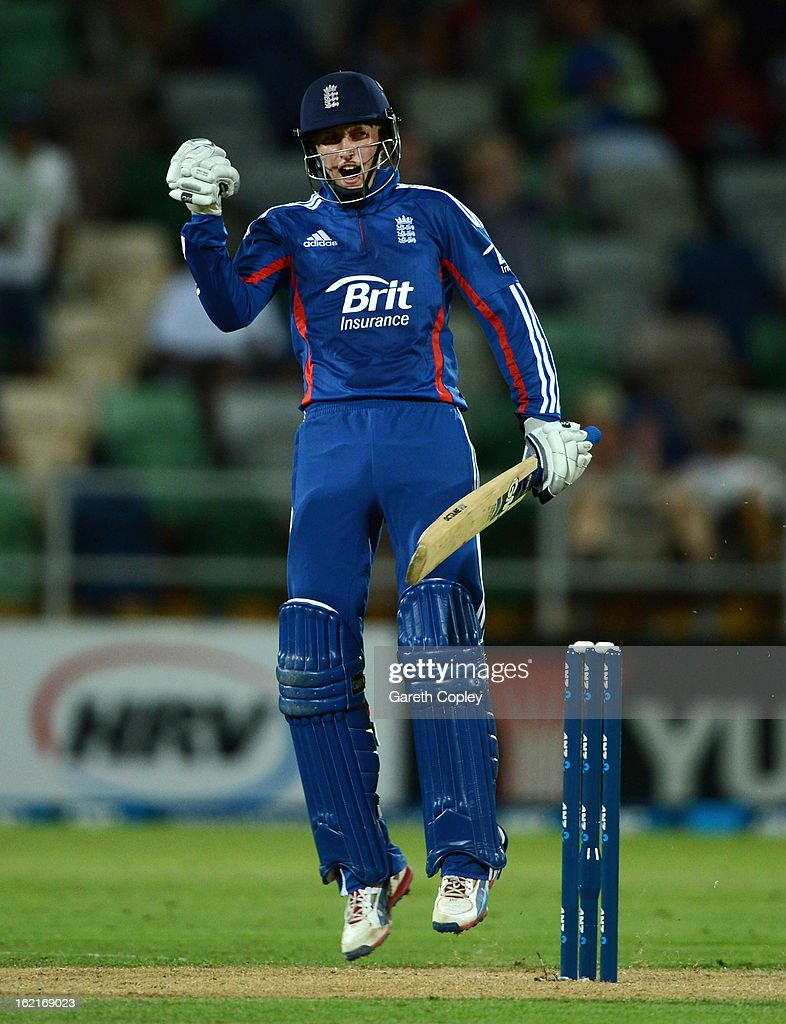 Joe Root of England celebrates winning the second match of the international Twenty20 series between New Zealand and England at McLean Park on February 20, 2013 in Napier, New Zealand.