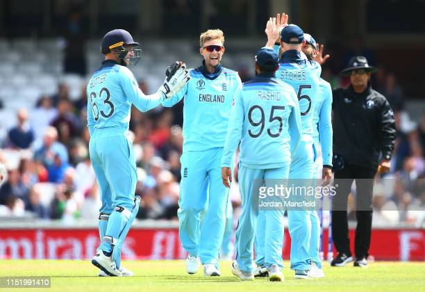 Joe Root of England celebrates with his teammates after dismissing Rashid Khan of Afghanistan during the ICC Cricket World Cup 2019 Warm Up match...