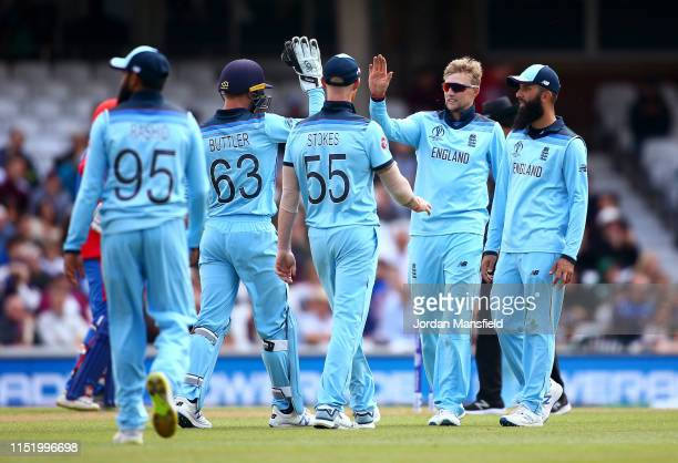 Joe Root of England celebrates with his teammates after dismissing Aftab Alam of Afghanistan during the ICC Cricket World Cup 2019 Warm Up match...
