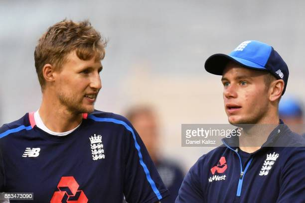 Joe Root of England chats with Mason Crane of England during an England nets session at Adelaide Oval on December 1 2017 in Adelaide Australia