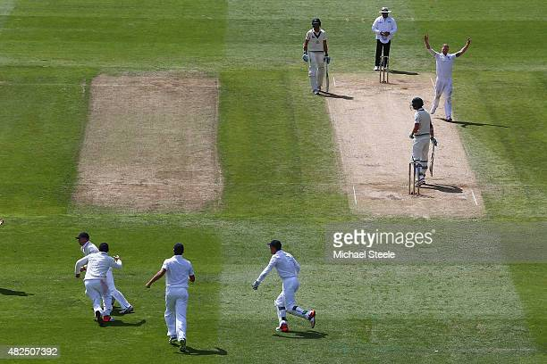 Joe Root of England claims a catch at third slip to dismiss Josh Hazlewood off the bowling of Ben Stokes during day three of the 3rd Investec Ashes...