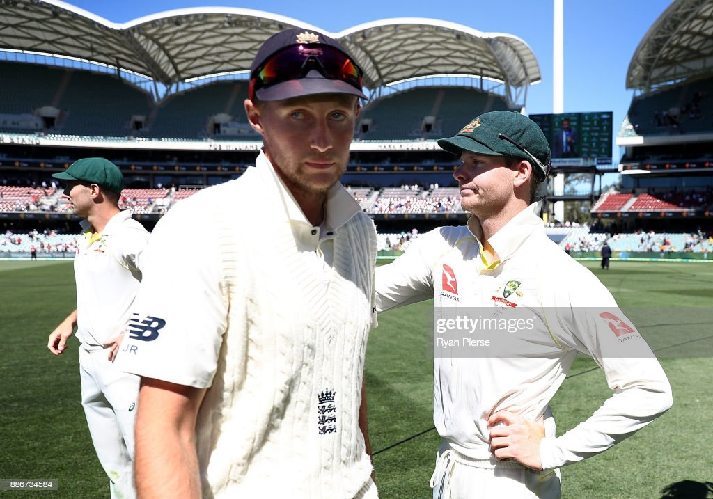 Joe Root of England congratulates Steve Smith of Australia after Australia claimed victory during day five of the Second Test match during the 2017/18 Ashes Series between Australia and England at Adelaide Oval on December 6, 2017 in Adelaide, Australia.