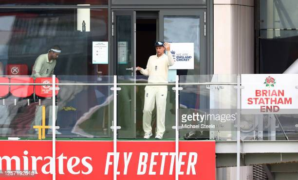 Joe Root of England declares during Day Five of the 2nd Test Match in the #RaiseTheBat Series between England and The West Indies at Emirates Old...